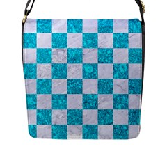 Square1 White Marble & Turquoise Marble Flap Messenger Bag (l)  by trendistuff