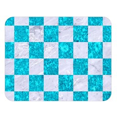 Square1 White Marble & Turquoise Marble Double Sided Flano Blanket (large)  by trendistuff