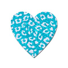 Skin5 White Marble & Turquoise Marble (r) Heart Magnet by trendistuff