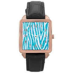Skin4 White Marble & Turquoise Marble (r) Rose Gold Leather Watch  by trendistuff