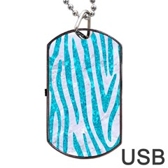 Skin4 White Marble & Turquoise Marble Dog Tag Usb Flash (one Side) by trendistuff