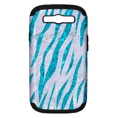 Skin3 White Marble & Turquoise Marble (r) Samsung Galaxy S Iii Hardshell Case (pc+silicone) by trendistuff