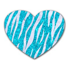 Skin3 White Marble & Turquoise Marble Heart Mousepads by trendistuff