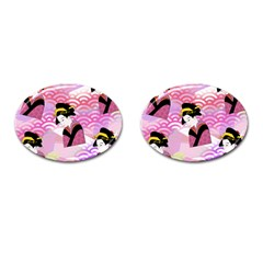 Japanese Abstract Pink Cufflinks (oval) by snowwhitegirl