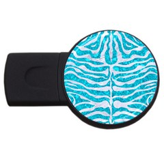 Skin2 White Marble & Turquoise Marble Usb Flash Drive Round (4 Gb) by trendistuff