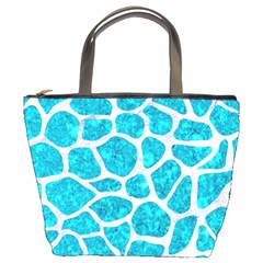 Skin1 White Marble & Turquoise Marble (r) Bucket Bags by trendistuff