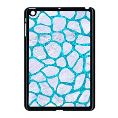 Skin1 White Marble & Turquoise Marble Apple Ipad Mini Case (black) by trendistuff