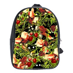 Fruit Blossom Black School Bag (large) by snowwhitegirl