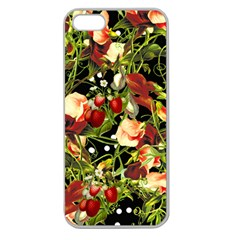 Fruit Blossom Black Apple Seamless Iphone 5 Case (clear) by snowwhitegirl