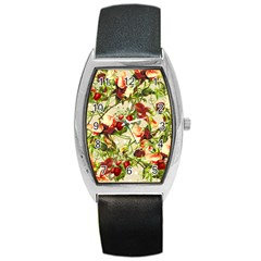 Fruit Blossom Beige Barrel Style Metal Watch by snowwhitegirl