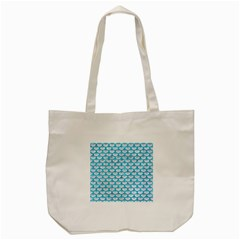 Scales3 White Marble & Turquoise Marble (r) Tote Bag (cream) by trendistuff