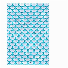 Scales3 White Marble & Turquoise Marble (r) Small Garden Flag (two Sides) by trendistuff
