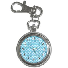 Scales2 White Marble & Turquoise Marble (r) Key Chain Watches by trendistuff