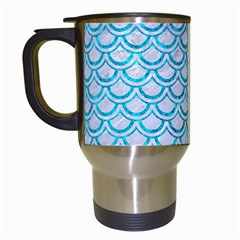 Scales2 White Marble & Turquoise Marble (r) Travel Mugs (white) by trendistuff