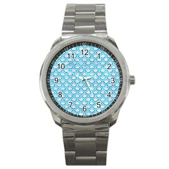 Scales2 White Marble & Turquoise Marble (r) Sport Metal Watch by trendistuff