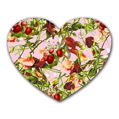 Fruit Blossom Pink Heart Mousepads by snowwhitegirl