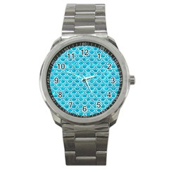 Scales2 White Marble & Turquoise Marble Sport Metal Watch by trendistuff
