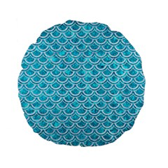 Scales2 White Marble & Turquoise Marble Standard 15  Premium Flano Round Cushions by trendistuff