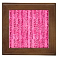 Knitted Wool Bright Pink Framed Tiles by snowwhitegirl