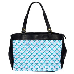 Scales1 White Marble & Turquoise Marble (r) Office Handbags (2 Sides)  by trendistuff
