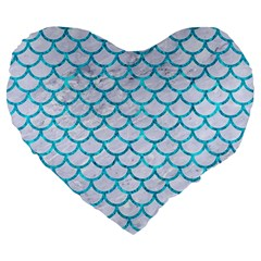 Scales1 White Marble & Turquoise Marble (r) Large 19  Premium Heart Shape Cushions by trendistuff