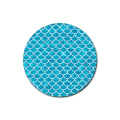 Scales1 White Marble & Turquoise Marble Rubber Coaster (round)  by trendistuff