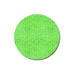 Knitted Wool Neon Green Rubber Round Coaster (4 Pack)  by snowwhitegirl