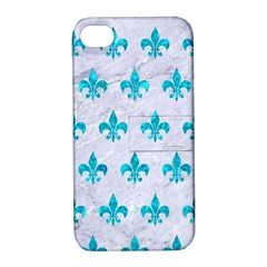 Royal1 White Marble & Turquoise Marble Apple Iphone 4/4s Hardshell Case With Stand by trendistuff