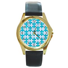 Puzzle1 White Marble & Turquoise Marble Round Gold Metal Watch by trendistuff