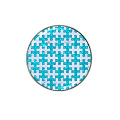 Puzzle1 White Marble & Turquoise Marble Hat Clip Ball Marker by trendistuff