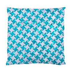 Houndstooth2 White Marble & Turquoise Marble Standard Cushion Case (two Sides)