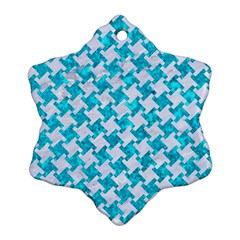 Houndstooth2 White Marble & Turquoise Marble Snowflake Ornament (two Sides) by trendistuff