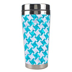 Houndstooth2 White Marble & Turquoise Marble Stainless Steel Travel Tumblers by trendistuff