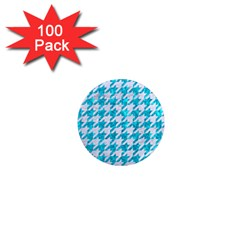 Houndstooth1 White Marble & Turquoise Marble 1  Mini Magnets (100 Pack)  by trendistuff