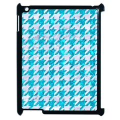 Houndstooth1 White Marble & Turquoise Marble Apple Ipad 2 Case (black) by trendistuff