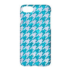 Houndstooth1 White Marble & Turquoise Marble Apple Iphone 7 Hardshell Case by trendistuff