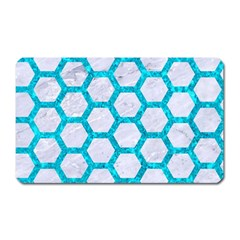 Hexagon2 White Marble & Turquoise Marble (r) Magnet (rectangular) by trendistuff