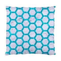 Hexagon2 White Marble & Turquoise Marble (r) Standard Cushion Case (two Sides)