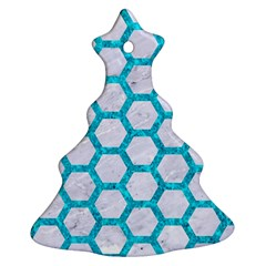 Hexagon2 White Marble & Turquoise Marble (r) Christmas Tree Ornament (two Sides) by trendistuff