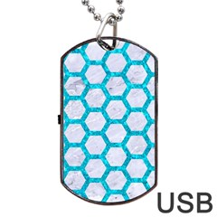 Hexagon2 White Marble & Turquoise Marble (r) Dog Tag Usb Flash (two Sides) by trendistuff