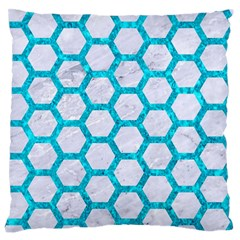 Hexagon2 White Marble & Turquoise Marble (r) Standard Flano Cushion Case (one Side) by trendistuff
