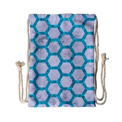 Hexagon2 White Marble & Turquoise Marble (r) Drawstring Bag (small) by trendistuff