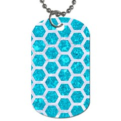 Hexagon2 White Marble & Turquoise Marble Dog Tag (two Sides) by trendistuff