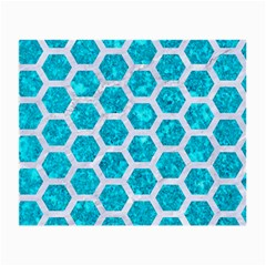 Hexagon2 White Marble & Turquoise Marble Small Glasses Cloth by trendistuff