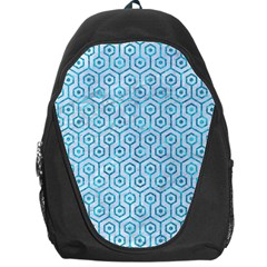 Hexagon1 White Marble & Turquoise Marble (r) Backpack Bag by trendistuff