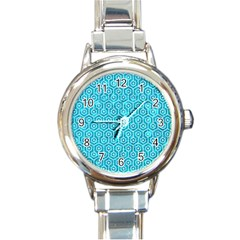 Hexagon1 White Marble & Turquoise Marble Round Italian Charm Watch by trendistuff