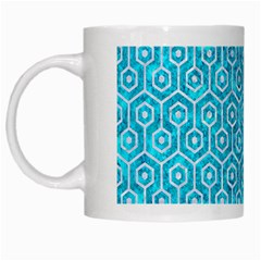 Hexagon1 White Marble & Turquoise Marble White Mugs by trendistuff