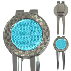 Hexagon1 White Marble & Turquoise Marble 3 In 1 Golf Divots