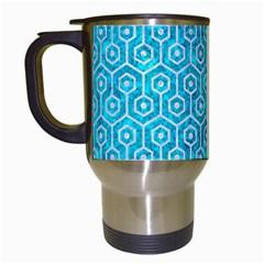 Hexagon1 White Marble & Turquoise Marble Travel Mugs (white) by trendistuff