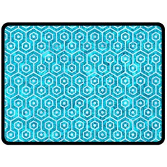 Hexagon1 White Marble & Turquoise Marble Double Sided Fleece Blanket (large)